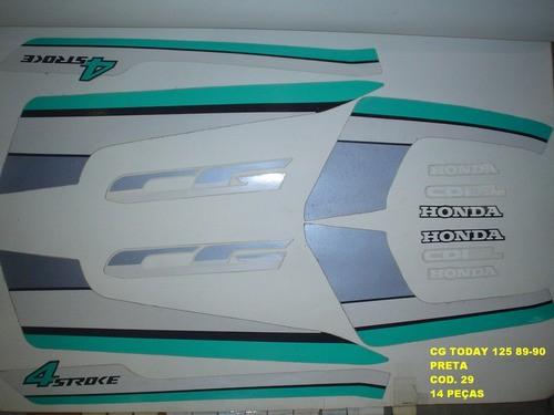 Kit De Adesivos Cg 125 Today 89/90 - Moto Cor Preta - 29