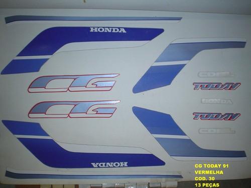 Kit De Adesivos Cg 125 Today 91 - Moto Cor Vermelha - 30