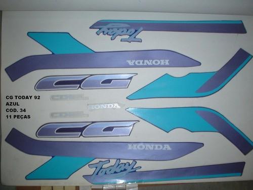 Kit De Adesivos Cg 125 Today 92 - Moto Cor Azul 34