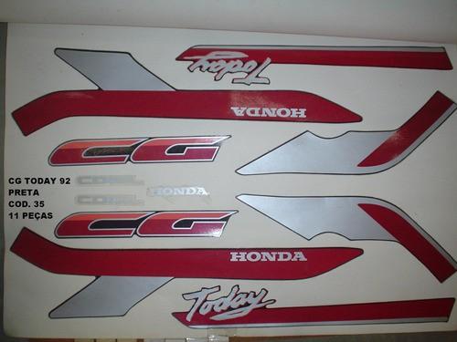 Kit De Adesivos Cg 125 Today 92 - Moto Cor Preta - 35
