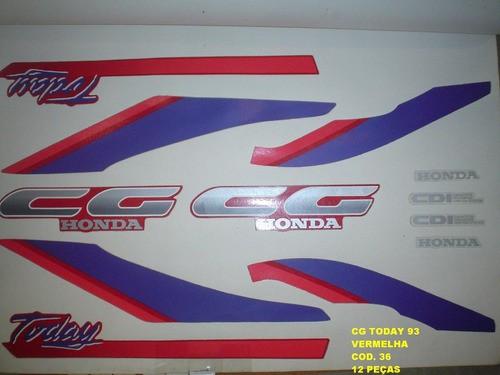 Kit De Adesivos Cg 125 Today 93 - Moto Cor Vermelha - 36