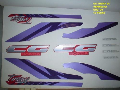 Kit De Adesivos Cg 125 Today 94 - Moto Cor Vermelha - 39