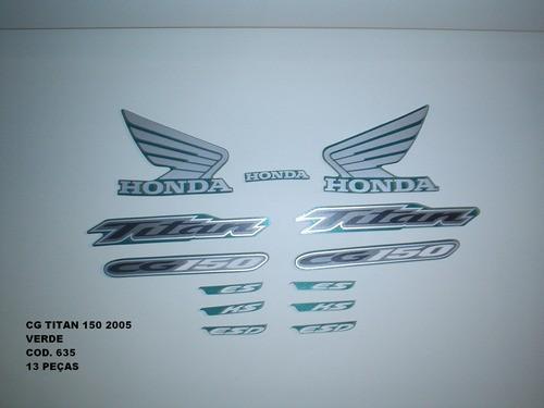 Kit De Adesivos Cg 150 Titan 05 - Moto Cor Verde 635