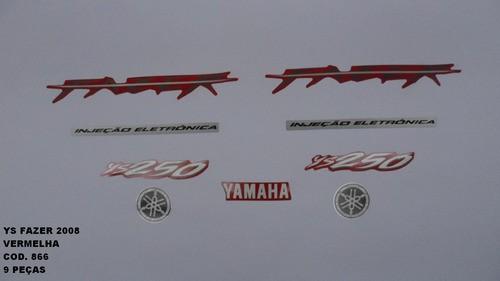 Kit De Adesivos Fazer 250 08 - Moto Cor Vermelha 866