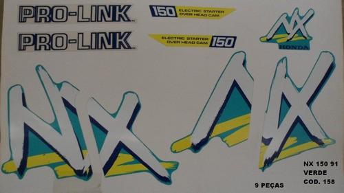 Kit De Adesivos Nx 150 91 - Moto Cor Verde (158 - Adesivos)