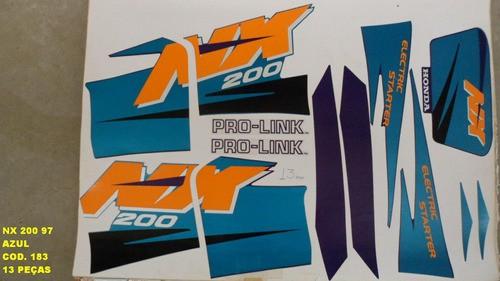 Kit De Adesivos Nx 200 97 - Moto Cor Azul (183 - Adesivos)