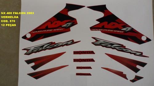 Kit De Adesivos Nx 400 Falcon 03 - Moto Cor Vermelha - 570