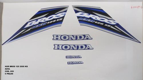 Kit De Adesivos Nxr 125 Bros Ks 05 - Moto Cor Azul - 659
