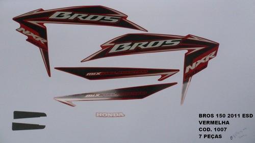 Kit De Adesivos Nxr 150 Bros Esd 11 Moto Cor Vermelha - 1007
