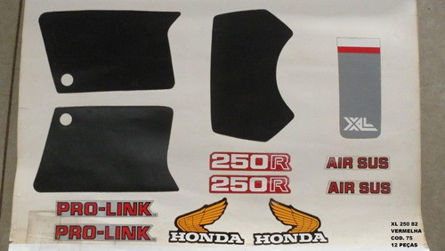 Kit De Adesivos Xl 250 82/83 - Moto Cor Vermelha - 75