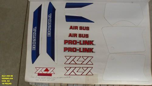Kit De Adesivos Xlx 250 86 - Moto Cor Vermelha 84