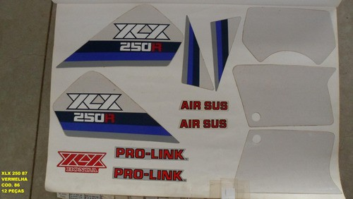 Kit De Adesivos Xlx 250 87 - Moto Cor Vermelha 86