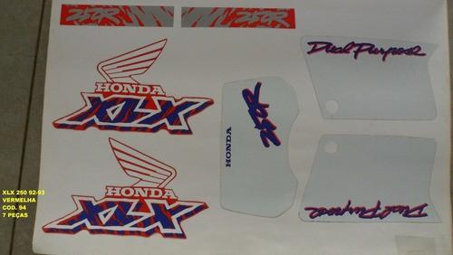 Kit De Adesivos Xlx 250 92/03 - Moto Cor Vermelha 94