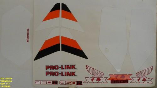 Kit De Adesivos Xlx 350 88 - Moto Cor Vermelha 117