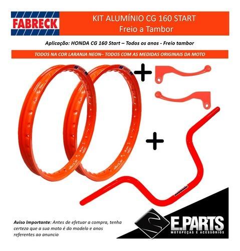 Manetes Cg 160 Start+aros Aluminio Laranja Neon+guidao Alum