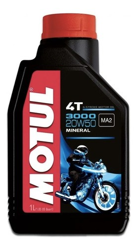 Oleo Para Motor De Moto 4 Tempos Motul 3000 20w50 Mineral 1l