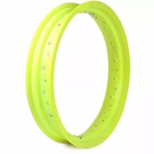 Par Aro Alumínio Amarelo Neon Moto Xtz 125 21x185+18x215
