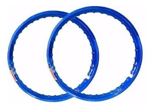 Par Aro Alumínio Azul Moto Dt 200 Medida 18x215+21x185