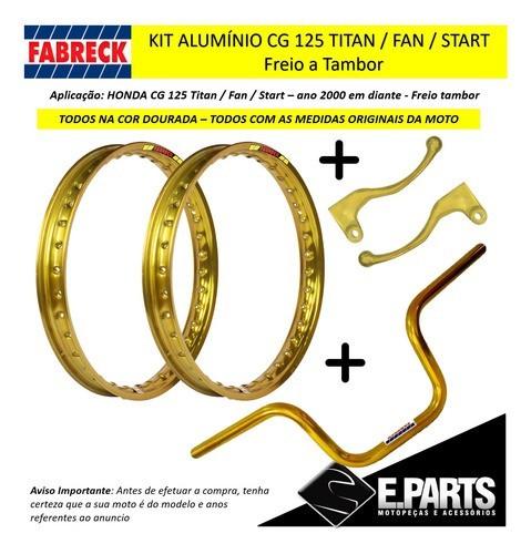 Par Aro Aluminio Cg 125 Titan / 125 Fan + Guidao +manetes Dr
