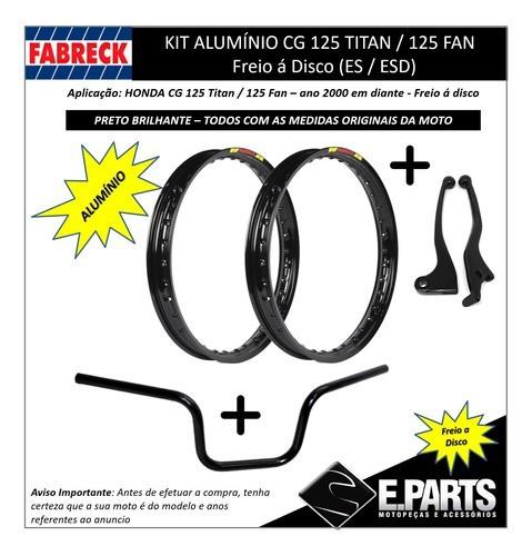 Par Aro Aluminio Cg 125 Titan /fan +guidao+manete D Pret Br
