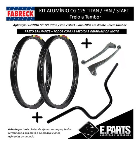 Par Aro Aluminio Cg 125 Titan / Fan +guidao+manetes Pret Br