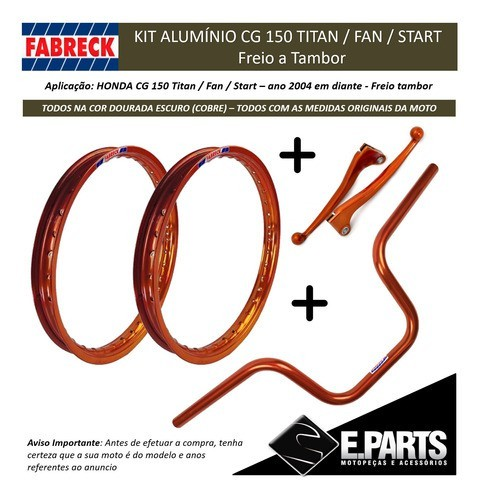 Par Aro Aluminio Cg 150 Titan / 150 Fan + Guidao +manetes Cb