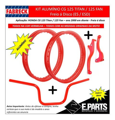 Par Aro Aluminio Cg 150 Titan / 150 Fan+guidao+manetes Dc Vm