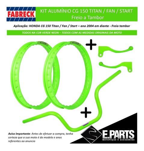 Par Aro Aluminio Cg 150 Titan / 150 Fan + Guidao +manetes Vd