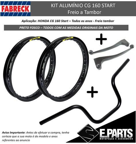 Par Aro Aluminio Cg 160 Start + Guidao +manetes Preto Fosco