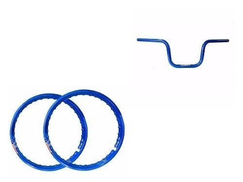 Par Aro Moto Alumínio Cor Azul 18x250+18x250 + Guidom Azul