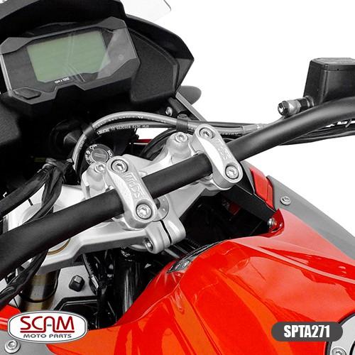 Riser Adaptador Guidão Honda Transalp700 Prata Spta271