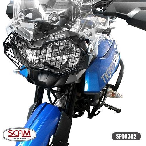 Scam Spto302 Protetor Farol Aço Carbono Tiger800 2012+