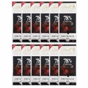 Kit 12x Barra de chocolate Lindt 78% Amargo 100g Dark