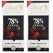Kit 2x Barra de chocolate Lindt 78% Amargo 100g Dark