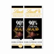 Kit 2x Barra de chocolate Lindt Excellence 90% Amargo 100g Dark