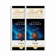 Kit 2x Barra de Chocolate Lindt Excellence Sea Salt 100g Dark