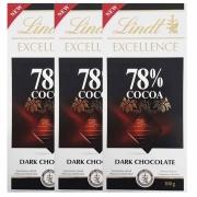 Kit 3x Barra de chocolate Lindt 78% Amargo 100g Dark