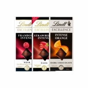 Kit 3x Chocolate Lindt Excellence Intense Framboesa, Strawberry e Orange 100g Dark