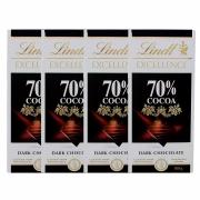 Kit 4x Barra de chocolate Lindt 70% Amargo 100g Dark