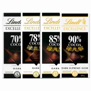 Kit 4x Barras de Chocolates Lindt 70%, 78%, 85% e 90% Amargo 100g Dark