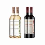 Kit 4x Vinho Branco/Tinto Chileno Baron Philippe de Rothschild Chardonnay/Cabernet Sauvignon 750ml