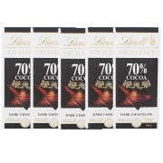 Kit 5x Barra de chocolate Lindt 70% Amargo 100g Dark