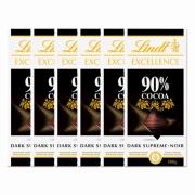 Kit 6x Barra de chocolate Lindt Excellence 90% Amargo 100g Dark