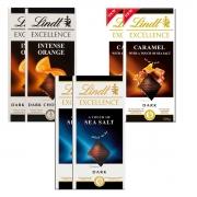 Kit 6x Chocolate Lindt Laranja + Caramelo com Sal + Sea Salt