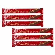 Kit 6x Chocolate Stick Lindt Milk Lindor Vermelho 38g