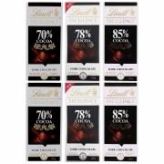 Kit 6x Chocolates Lindt 70%, 78% e 85% Amargo 100g Dark