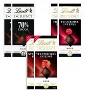 Kit 6x Chocolates Lindt Morango + Framboesa + 70% 100g