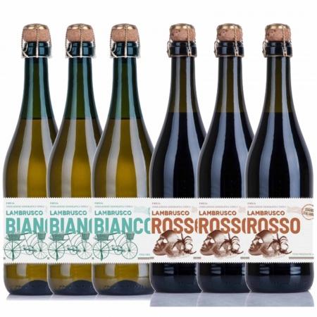 Kit 6x Vinho Branco e Tinto Italiano Frisante Bianco e Rosso Sogno Lambrusco 750ml