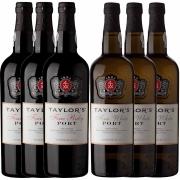 Kit 6x Vinho do Porto Taylor's White Fine + Ruby 750ml