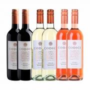 Kit 6x Vinho Italiano Tinto/Branco/Rosé Codici Rosso/Bianco/Rosato Puglia IGT